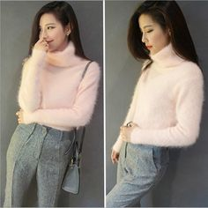Lady Faux Cashmere Jumper Sweater Turtleneck Slim Fluffy Short Pullover Top Soft