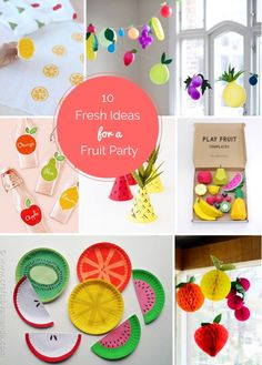 10 Fresh Ideas for a Fruit Themed Party- Love the DIY Fruit Stamp for Decorating! Fruit Decoration For Party, Birthday Party Decorations Diy, Diy Party Decorations, Party Crafts, Fruit Birthday, 2nd Birthday Parties, Themed Parties, Birthday Ideas, Fete Laurent