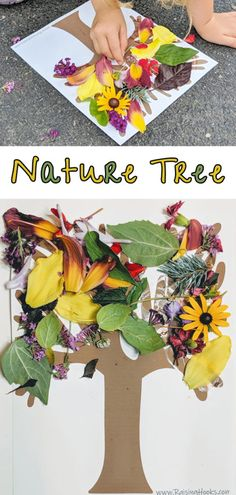 Nature Tree – Raising Hooks – Crafts for Kids – Fall Toddler Learning, Toddler Fun, Toddler Crafts, Kids Outdoor Crafts, Kids Nature Crafts, Nature For Kids, Autumn Crafts Kids, Children Crafts, Nature Activities
