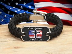 Light Duty Survival Bracelet™ - One Nation 2 - Black
