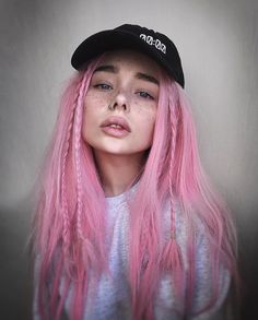 Long pastel pink wig with braids by vncvt