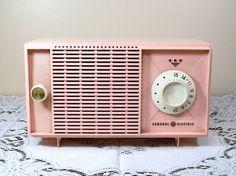 Cute!!   Vintage Pink Radio General Electric 1950's Display Repair Repurpose. $17.50, via Etsy.