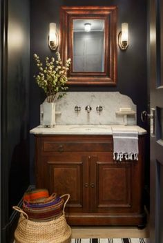 Bathroom dark light powder room 27 ideasBathroom dark light powder room 27 ideas bathBest Awesome Carriage House Interior Ideas Dark Powder Room by Tamara Magel Diy Bathroom Vanity, Small Bathroom, Bathroom Ideas, Master Bathroom, 1950s Bathroom, Cozy Bathroom, Vanity Mirrors, Minimal Bathroom, Victorian Bathroom