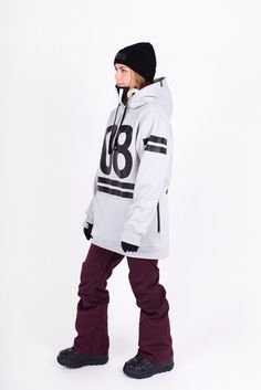 Womens 08 Tech Snowboarding Hoodie by Indyslopestyle. Dove Grey, 5K Waterproof, 3K Breathability, 100% Windproof. For all season riding.