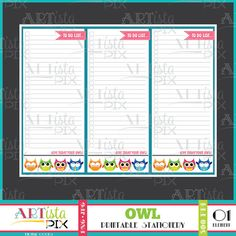 Owl To do list Note Pad Memo Pad Instant Download