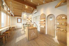 Bakery Shop Design, Kiosk Design, Coffee Shop Design, Restaurant Design, Web Design, Coffee Shop Japan, Korean Coffee Shop, Small Coffee Shop, Bakery Interior