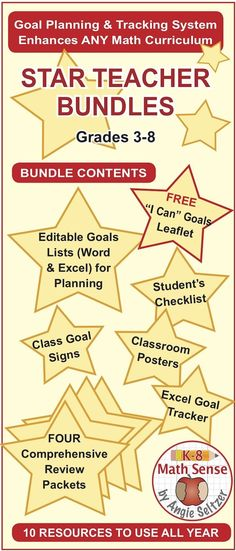 Each Star Teacher Bundle includes 10 Common-Core aligned resources to use all year! Improve success with any math curriculum in Grades 3-8.