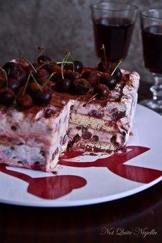 black forest tiramisu - dessert using frozen yoghurt