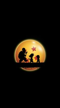 Master Roshi, a young Goku and Krillin silhouetted by a Dragonball horizon.