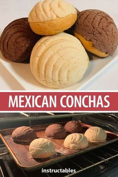 Conchas Mexican Conchas are sweet breads, a traditional baked good in Mexico.Mexican Conchas are sweet breads, a traditional baked good in Mexico. Mexican Pastries, Mexican Sweet Breads, Authentic Mexican Recipes, Mini Desserts, Conchas Recipe, Gourmet Recipes, Baking Recipes, Baking Breads, Dinner Recipes