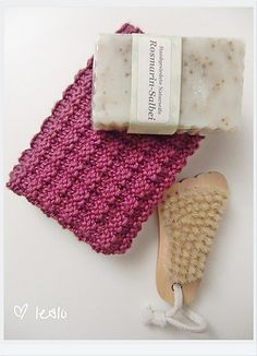 Ravelry: Double Bump Dishcloth pattern by Missy Angus - I like the look of the soap too.