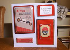 Husband Birthday. Card made using Kanban So Macho paper craft collection for male cards