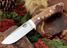 Bark River Knives: Classic Drop-Point Hunter - Elmax - Natural Maple Burl - Red & Silver Acrylic Hybrid