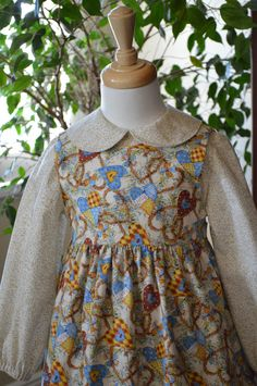 Holly Hobbie Dress,Pinafore,Sunbonnet, Prairie Dress, Girls Modest Dress,  Size 3 Ready to ship by NancysNeedfulThings on Etsy
