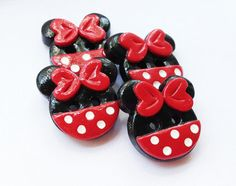 *POLYMER CLAY ~ Minnie Buttons - handmade buttons made from polymer clay ( set of 4)