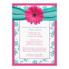Pink Gerber Daisy Aqua Wedding Invitation