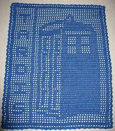 blue filet crochet tardis doily thing