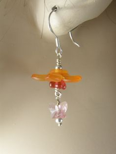 Silver and Orange Flower and Butterfly Bead Wire Wrapped Earrings