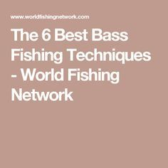 The 6 Best Bass Fishing Techniques - World Fishing Network