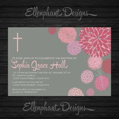 Girl's Christening Invitation, pink, floral, baptism, first communion, Gray, flower, dahlia, custom invite, digital file, you print