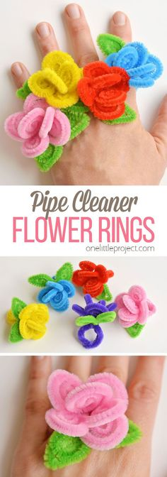 These pipe cleaner flower rings are so SIMPLE to make and they look so pretty! T… These pipe cleaner flower rings are so SIMPLE to make and they look so pretty! This is such a fun pipe cleaner craft and… Continue Reading → Pipe Cleaner Flowers, Pipe Cleaner Crafts, Pipe Cleaners, Crafts For Teens To Make, Diy Crafts To Sell, Kids Diy, Kids Crafts, Sell Diy, Cork Crafts