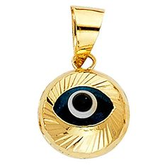 14k Yellow Gold Evil Eye Fluted Charm Pendant ** Check out the image by visiting the link.Note:It is affiliate link to Amazon.