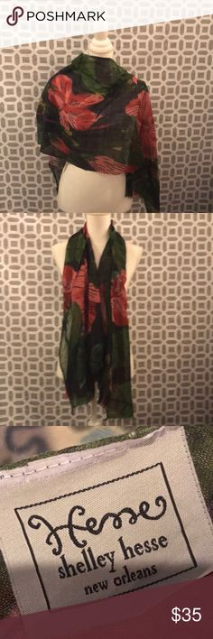 """Anthropologie scarf Beautiful wool and silk scarf in navy, greens and pinks. Good used condition from smoke free home.  Measures 68"""" by 20"""". Anthropologie Accessories Scarves & Wraps"""