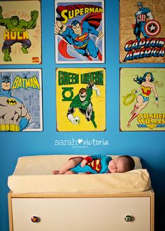 Superman superhero newborn lifestyle session  Friendswood, TX Sarah Victoria Photography