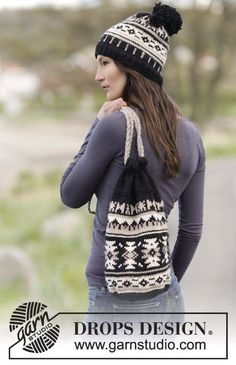 """Southwest Bag - Set consists of: Knitted DROPS hat and bag with graphic pattern in """"Nepal"""". - Free pattern by DROPS Design"""