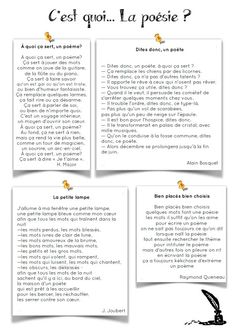CM: What is poetry? - 4 poems to choose for the return, Education French Flashcards, French Worksheets, French Teacher, Teaching French, What Is Poetry, Cycle 3, Poetry Activities, Poetry Lessons, French Classroom