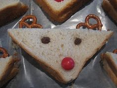 Rudolf sandwiches. I've done these for years with peanut butter. Guess my child with allergies could do this plain version.