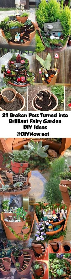 21 Broken Pots Turned into Brilliant Fairy Garden DIY Ideas - Garden Types Fairy Garden Pots, Garden Terrarium, Garden Crafts, Garden Projects, Garden Ideas, Broken Pot Garden, Deco Floral, Garden Types, Miniature Fairy Gardens
