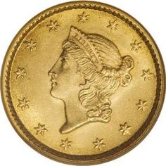 Liberty Head Type 1 Gold Dollar. This particular coin is an 1853. It's not a particularly rare piece, but it does have an exceptional strike, which is uncommon to this type. Date range includes from 1849 to 1854.