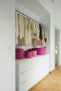 If your wardrobe is monotone...this closet is for you! Cute idea unrealistic color clothing scheme ~Coral