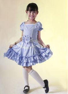 Blue Short Sleeves Cotton Applique Kids Lolita Dress on www.ueelly.com