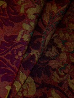 """Railroaded Old World Tapestry  Pattern Versailles color Merlot  high end premium woven heavy upholstery fabric  large scale railroaded pattern running horizontally for a wide area seemless application  cotton/poly  54""""W  priced per yard, very limited quantity"""