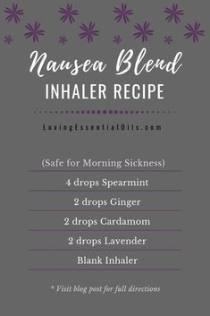 Nausea Blend Inhaler Recipe by Loving Essential Oils & Spearmint, ginger, cardamom, and lavender essential oil. Add to a blank inhaler. Essential Oils For Nausea, Essential Oil Inhaler, Essential Oils For Pregnancy, Ginger Essential Oil, Frankincense Essential Oil, Essential Oil Diffuser Blends, Essential Oil Uses, Spearmint Essential Oil, Essential Ouls