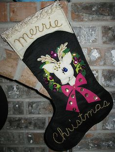 Vintage Felted Christmas Stocking Features Rudolph Reindeer and Wreath | eBay adorable!