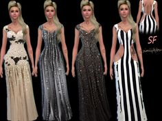Lovely elegant dresses at Simlife via Sims 4 Updates