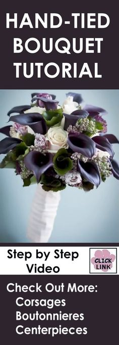 http://www.wedding-flowers-and-reception-ideas.com/make-a-wedding-bouquet-calla-lily-and-roses.html  Make a wedding bouquet with Black Calla Lilies and White Roses.  Check out other DIY wedding tutorials.