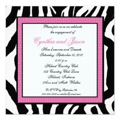 Zebra and Hot  pink -Engagement Party invitations
