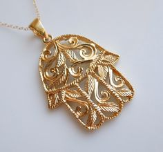 Gold Hamsa Necklace with Decorative Branches and Leaves  www.etsy.com/shop/443Jewelry