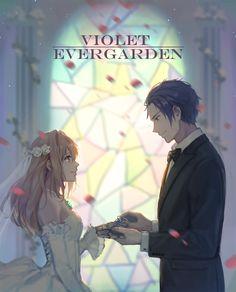 dress e=mc2_(pixiv9387811) gilbert_bougainvillea mecha_musume violet_evergarden violet_evergarden_(character) wedding_dress