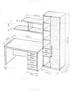 Workspace desk and shelving design with storage closet Wooden Pallet Furniture, Modular Furniture, Metal Furniture, Home Decor Furniture, Furniture Plans, Furniture Design, Study Table Designs, Office Table Design, Home Office Design