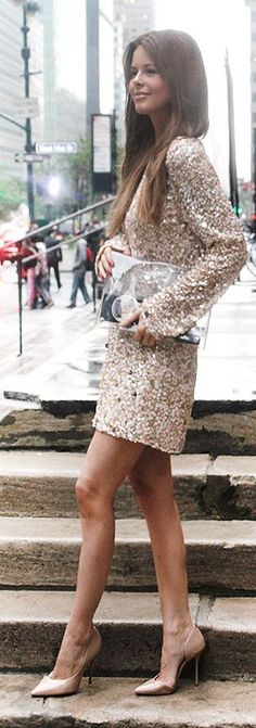 Nude Sequin Shift Dress Party Style by Annette Haga