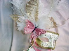 Peach Butterfly Costume Venetian Mask by BridalBijou on Etsy, $61.00