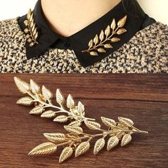 New fashion brooch pins Leaves collar tips gold-color lapel pins collar pin up harajuku Jewelry hijab pins broches mujer Boho Jewelry, Women Jewelry, Silver Jewelry, Jewelry Gifts, Gold Jewellery, Jewelry Tree, Silver Rings, Turquoise Jewelry, Indian Jewelry