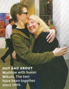 commie-pinko-liberal: Scan of the adorable photo of Rachel Maddow and her girlfriend, Susan, from Rolling Stone ALL OF THE CUTENESS. Cute Lesbian Couples, Lesbian Love, Amazing Women, Beautiful Women, Rachel Maddow, Navy Seals, Anchors, Acceptance, Rolling Stones