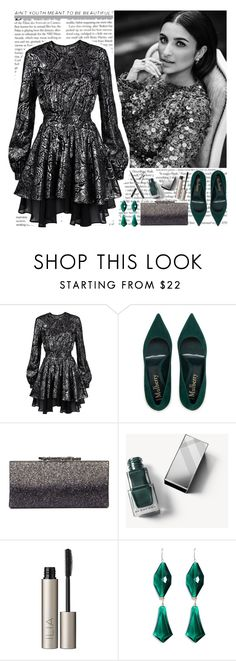 """""""silver & emerald"""" by helena99 ❤ liked on Polyvore featuring Just Cavalli, Jimmy Choo, Burberry, Ilia and Liz Law"""