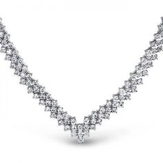 Classic Tennis Necklace Bridal V Shaped Cubic 15in